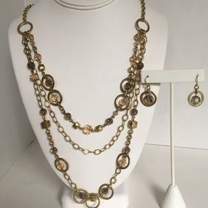 NWT Layered Gold Geometric Necklace and Earrings